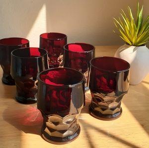 Ruby Red Georgian Honeycomb Glasses Six Set